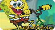 SpongeBob biking